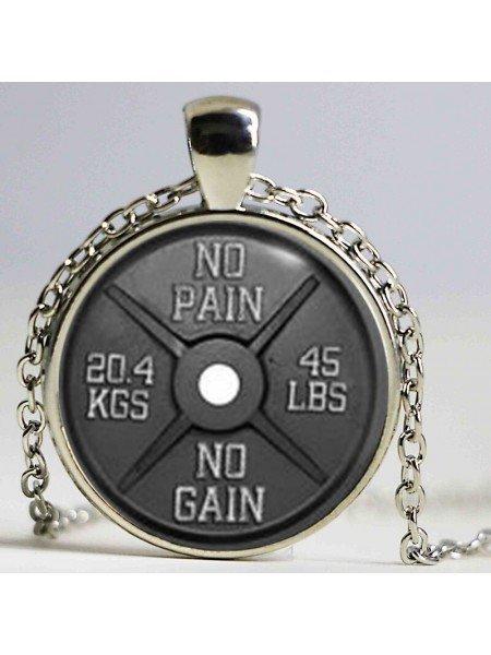 Кулон стеклянный с цепочкой No Pain No Gain